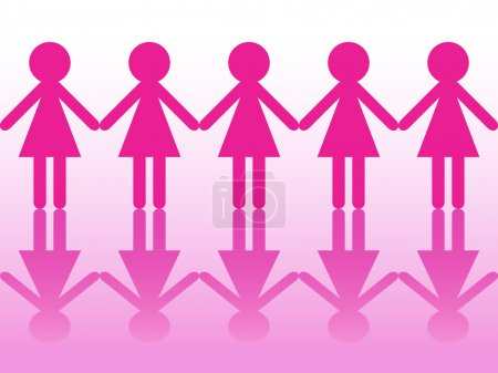 Illustration for Seamless row of women silhouettes holding hands as symbol of solidarity, unity and strength - Royalty Free Image