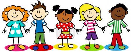 Illustration pour Stick amusant figurine dessin animé enfants, petits garçons et filles, diversité ethnique . - image libre de droit