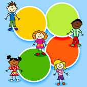 Cartoon stick figures kids with color circles for text ad template