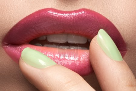 Photo for Beautiful female with shiny lips close-up. - Royalty Free Image