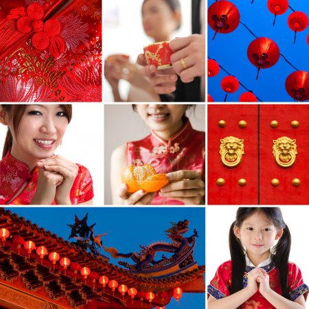 Photo pour Collection / collage photo du nouvel an chinois concept - image libre de droit