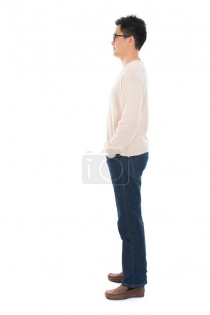 Side view full body casual Asian man