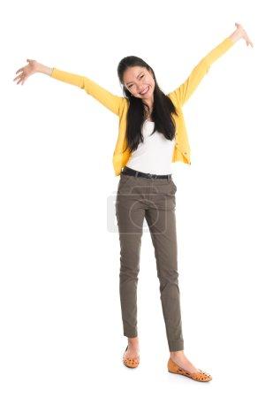 Asian female open hands wide