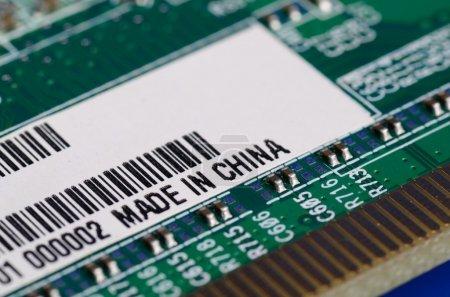 Photo pour Pièces d'ordinateur avec l'étiquette fabriqué en Chine - image libre de droit