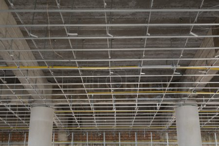 Suspended ceiling system under reconstruction building
