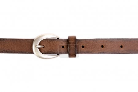 slim leather belt isolated on white