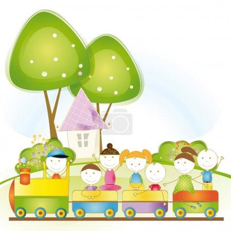 Illustration pour Filles de nd de garçons mignons de voyage dans le train de voyageurs - image libre de droit
