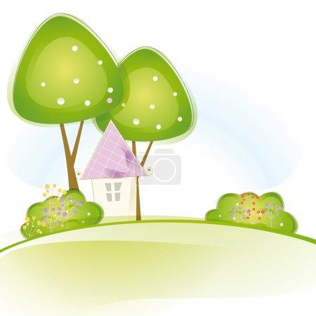 Illustration pour Vue colorée avec jolie maison et arbres - image libre de droit