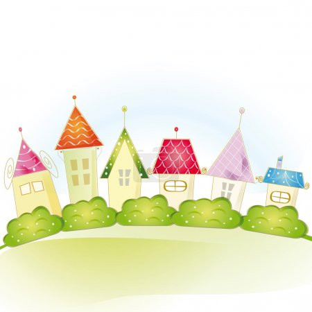 Illustration for Colorful view with cute house and trees - Royalty Free Image