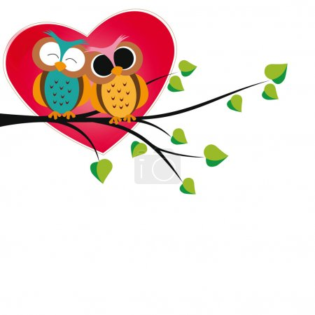 Illustration for Cute and happy owls on tree with hearts - Royalty Free Image