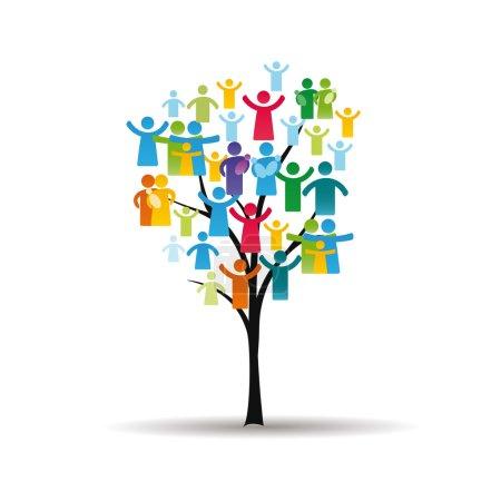 Illustration pour Figures abstraites et colorés montrant les arbres et les peuples heureux - image libre de droit