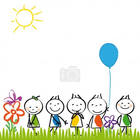 Illustration for Small and happy kids in summer garden - Royalty Free Image