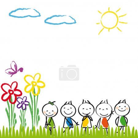 Illustration for Small and happy cute kids with banner - Royalty Free Image