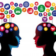 Two human figures face to face in education concep...