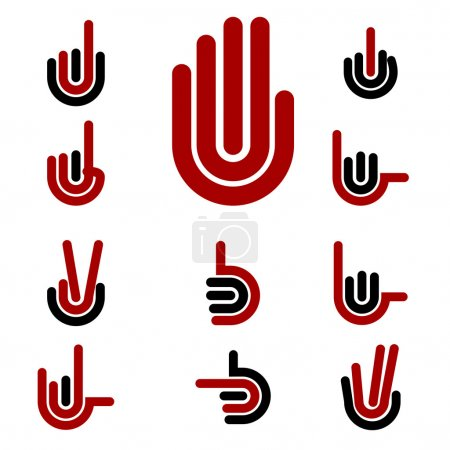 Hand Gestures and signals -set of vector icons for your design