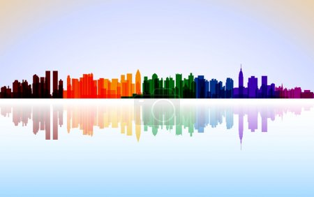 Illustration for Colorful City New York panorama, vector - Royalty Free Image