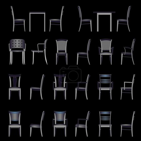 Illustration for Set of modern chair, vector - Royalty Free Image