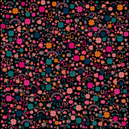 Background with lucky charms, vector