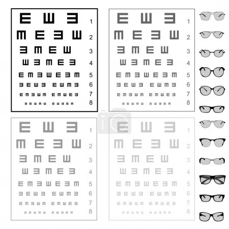 Illustration for Eye test chart with glasses, vector - Royalty Free Image