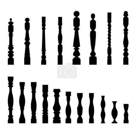 Set of architectural element balustrade