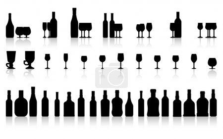 Illustration pour Set verre et bouteille, vecteur - image libre de droit