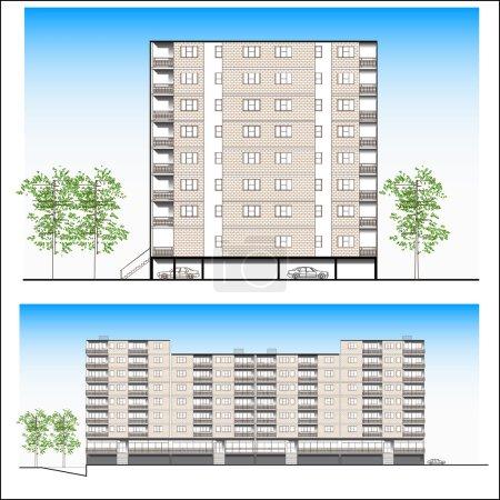 Facade. Habitation building