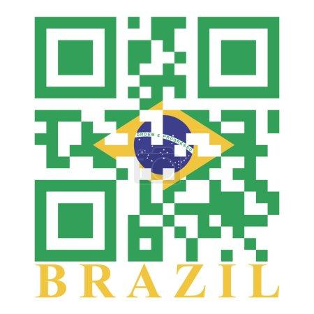 Illustration pour Brésil QR code flag illustration de signe numérique - image libre de droit