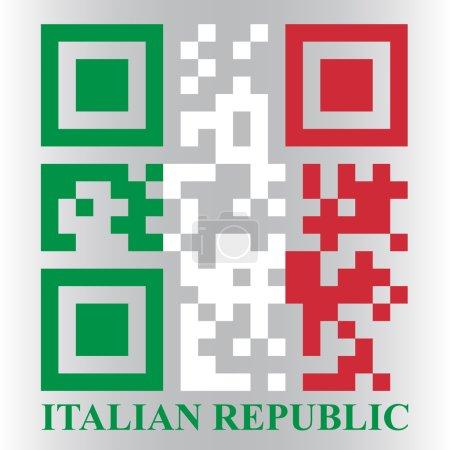 Illustration pour Drapeau italien QR code, vecteur - image libre de droit
