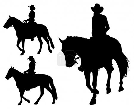 Cowgirl riding horse silhouettes - vector...