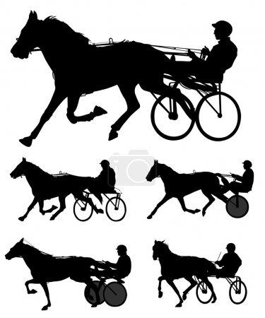 Trotters race silhouettes - vector...