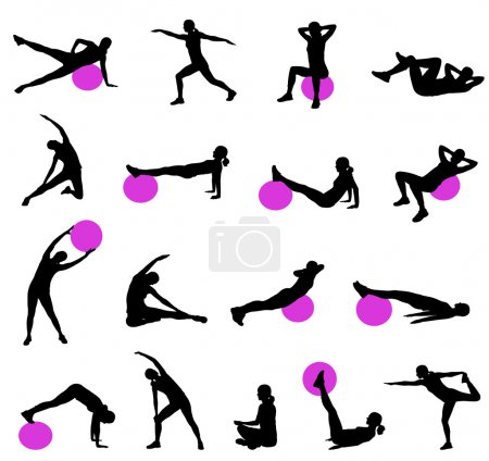 Silhouettes of women doing pilates