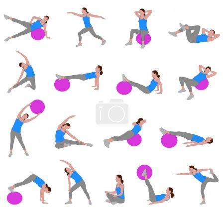 Women doing pilates illustration