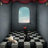 chambre avec échiquier et d'échecs attachés