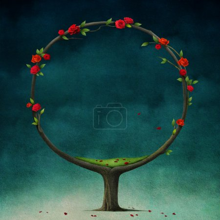 Photo for Background illustration with round or blossoming tree. - Royalty Free Image