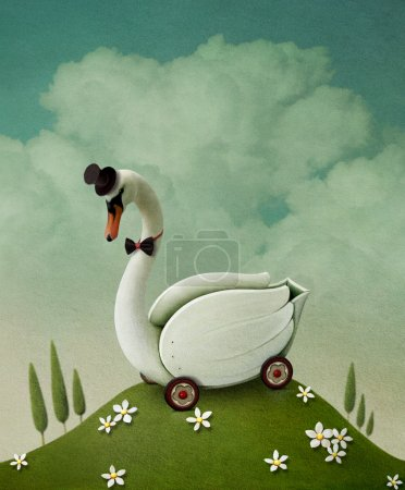Photo for Illustration , card or poster with toy swan cart. - Royalty Free Image