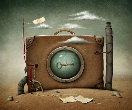 Conceptual illustration lone suitcase in desert....