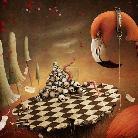 Photo pour Illustration conceptuelle du conte de fées Alice au pays des merveilles avec flamant rose et champignons. Graphiques informatiques . - image libre de droit