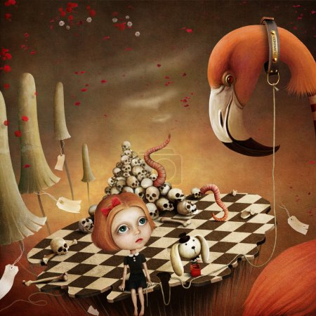 Conceptual illustration for the fairy tale Alice in Wonderland with flamingo and mushrooms.