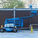 Self propeled blue telescopic boom lift platform...