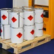 Industrial bucket cans with flammable material at ...