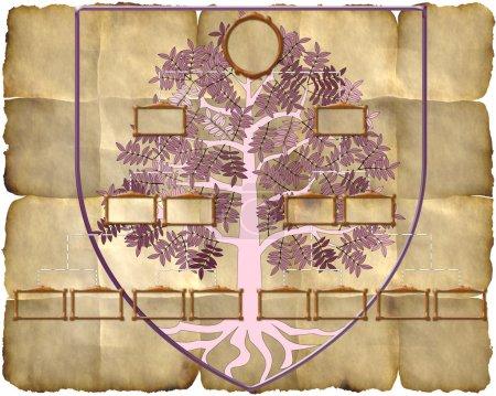 Photo pour Arbre généalogique familial sur fond vieux papier . - image libre de droit
