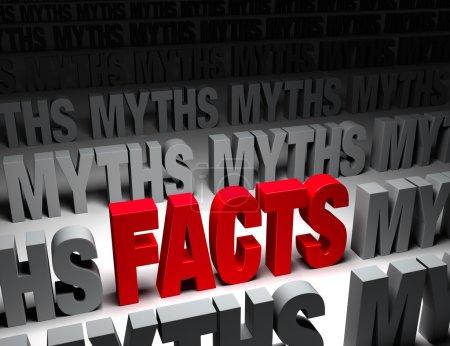 """Photo pour Un """"FAITS"""" rouge éclatant se démarque dans un champ sombre de """"MYTHS"""" """". - image libre de droit"""