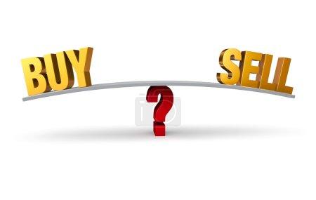 Photo pour Un brillant, or « acheter » et « vendre » s'asseoir aux deux extrémités d'une carte grise qui est en équilibre sur un point d'interrogation rouge. isolé sur blanc. - image libre de droit