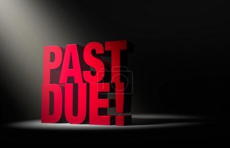 Photo pour Un coup de projecteur unique, angle révèle un grand, rouge « souffrance! » sur un fond sombre. - image libre de droit