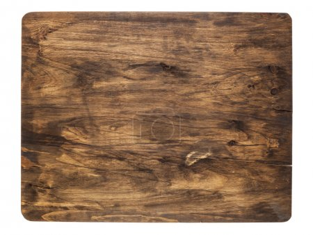 Photo for Rustic cracked cutting board stained black, isolated on white - Royalty Free Image
