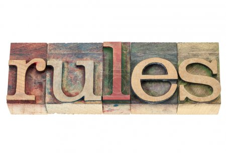 Rules word in wood type