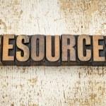 Resources word in vintage letterpress wood type on...