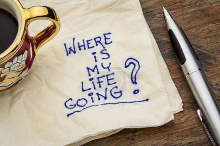 Photo for Where is my life going - an essential question or searching for purpose - a napkin doodle with a cup of espresso coffee - Royalty Free Image