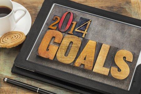 2014 goals on digital tablet