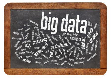 Photo pour Données grosses nuage - concept de technologie d'information, de la collection d'ensembles de données si vaste et complexes qu'il devient difficile à traiter à l'aide de méthodes traditionnelles - texte sur tableau noir vintage - image libre de droit